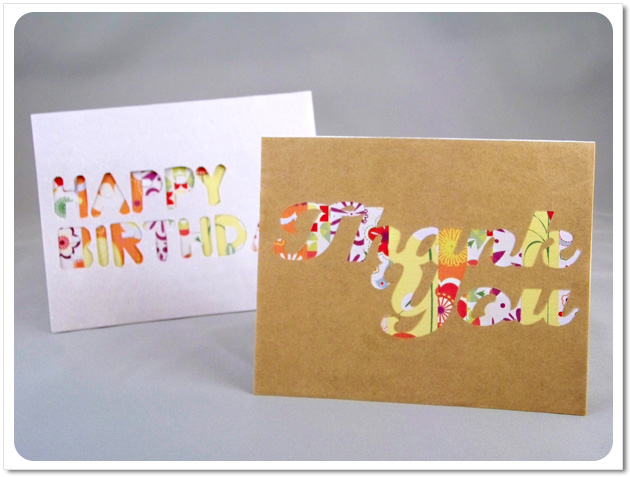 Simple Striped Cut-Out Cards