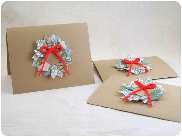 Fabric Wreath Christmas Cards