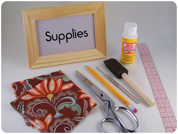 Funky Fabric Frame Redo Supplies