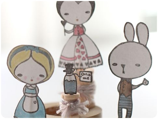 Alice in Wonderland Spool Dolls