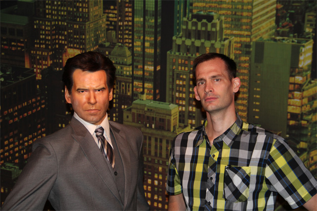 L and Pierce Brosnan at Hollywood Wax Museum